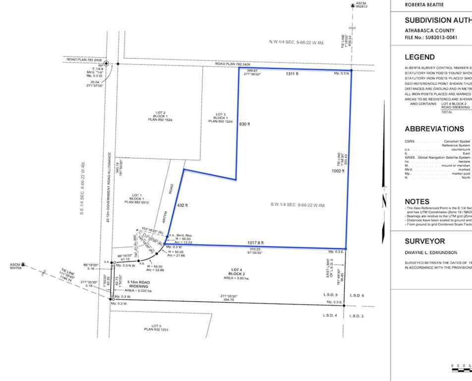 MLS® # A1088411 - SW-9-66-22-W4 Pioneer Road   in NONE Athabasca, Land Open Houses